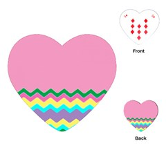 Easter Chevron Pattern Stripes Playing Cards (Heart)