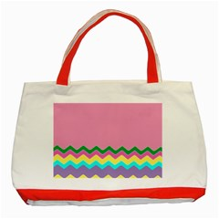 Easter Chevron Pattern Stripes Classic Tote Bag (red)