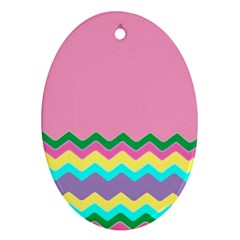 Easter Chevron Pattern Stripes Oval Ornament (two Sides)