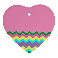 Easter Chevron Pattern Stripes Heart Ornament (two Sides)