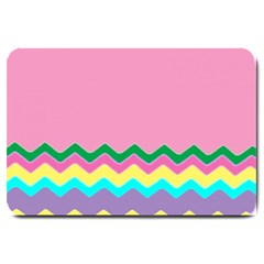 Easter Chevron Pattern Stripes Large Doormat