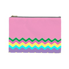 Easter Chevron Pattern Stripes Cosmetic Bag (large)