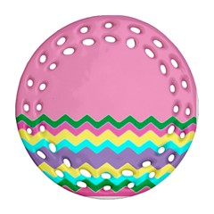 Easter Chevron Pattern Stripes Round Filigree Ornament (Two Sides)