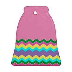 Easter Chevron Pattern Stripes Bell Ornament (Two Sides)