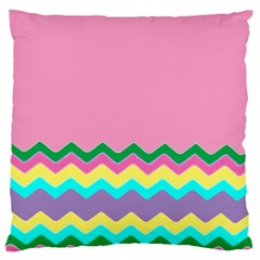 Easter Chevron Pattern Stripes Large Cushion Case (two Sides)