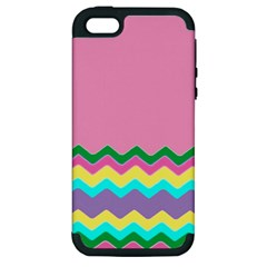 Easter Chevron Pattern Stripes Apple Iphone 5 Hardshell Case (pc+silicone)