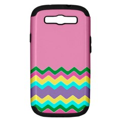 Easter Chevron Pattern Stripes Samsung Galaxy S Iii Hardshell Case (pc+silicone)