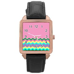 Easter Chevron Pattern Stripes Rose Gold Leather Watch