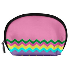 Easter Chevron Pattern Stripes Accessory Pouches (large)
