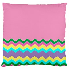 Easter Chevron Pattern Stripes Large Flano Cushion Case (one Side)