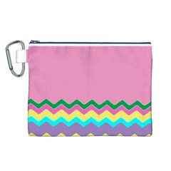 Easter Chevron Pattern Stripes Canvas Cosmetic Bag (l)