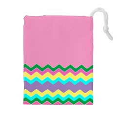 Easter Chevron Pattern Stripes Drawstring Pouches (extra Large)