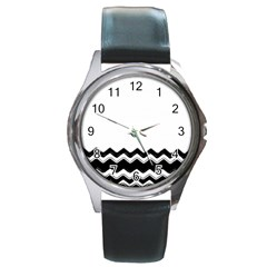 Chevrons Black Pattern Background Round Metal Watch