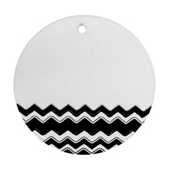 Chevrons Black Pattern Background Ornament (Round)