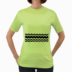 Chevrons Black Pattern Background Women s Green T Shirt