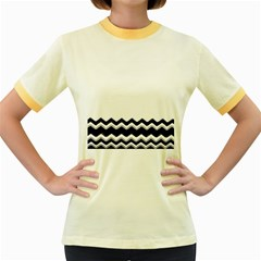 Chevrons Black Pattern Background Women s Fitted Ringer T Shirts