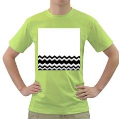 Chevrons Black Pattern Background Green T Shirt