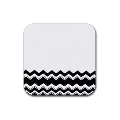 Chevrons Black Pattern Background Rubber Coaster (square)