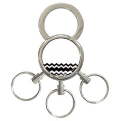Chevrons Black Pattern Background 3 Ring Key Chains