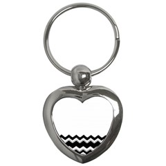 Chevrons Black Pattern Background Key Chains (heart)