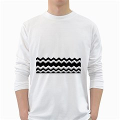 Chevrons Black Pattern Background White Long Sleeve T Shirts