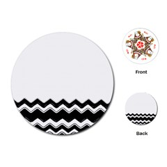Chevrons Black Pattern Background Playing Cards (round)