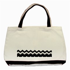 Chevrons Black Pattern Background Basic Tote Bag
