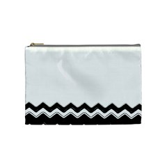 Chevrons Black Pattern Background Cosmetic Bag (Medium)