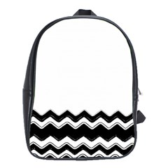 Chevrons Black Pattern Background School Bags(Large)