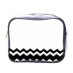 Chevrons Black Pattern Background Mini Toiletries Bags