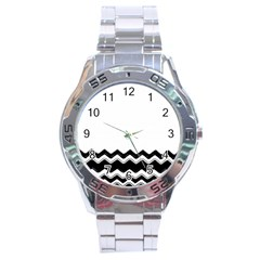 Chevrons Black Pattern Background Stainless Steel Analogue Watch