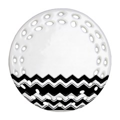 Chevrons Black Pattern Background Ornament (round Filigree)