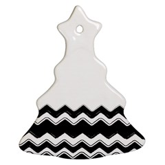 Chevrons Black Pattern Background Christmas Tree Ornament (two Sides)