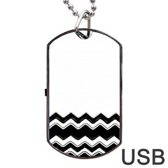 Chevrons Black Pattern Background Dog Tag Usb Flash (two Sides)
