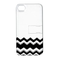 Chevrons Black Pattern Background Apple Iphone 4/4s Hardshell Case With Stand