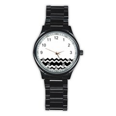 Chevrons Black Pattern Background Stainless Steel Round Watch