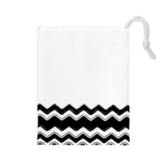 Chevrons Black Pattern Background Drawstring Pouches (large)