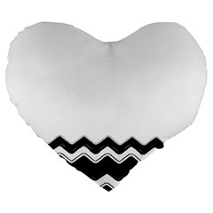 Chevrons Black Pattern Background Large 19  Premium Flano Heart Shape Cushions