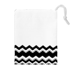 Chevrons Black Pattern Background Drawstring Pouches (extra Large)