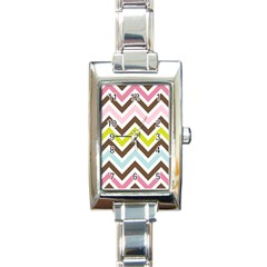 Chevrons Stripes Colors Background Rectangle Italian Charm Watch