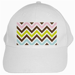 Chevrons Stripes Colors Background White Cap