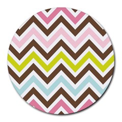 Chevrons Stripes Colors Background Round Mousepads