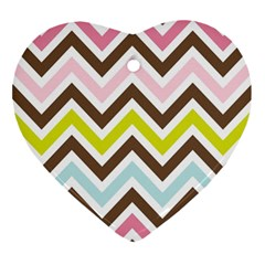 Chevrons Stripes Colors Background Ornament (heart)