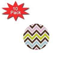 Chevrons Stripes Colors Background 1  Mini Buttons (10 pack)