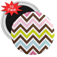 Chevrons Stripes Colors Background 3  Magnets (10 Pack)