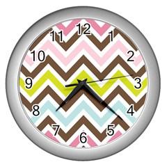 Chevrons Stripes Colors Background Wall Clocks (silver)