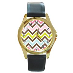 Chevrons Stripes Colors Background Round Gold Metal Watch