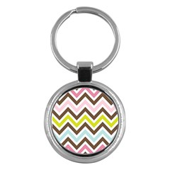 Chevrons Stripes Colors Background Key Chains (round)