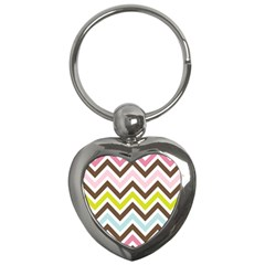 Chevrons Stripes Colors Background Key Chains (heart)