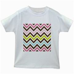 Chevrons Stripes Colors Background Kids White T Shirts